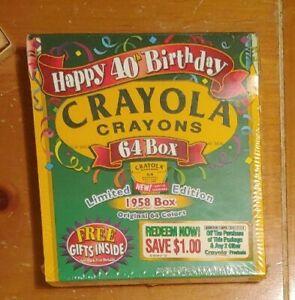 1998 Crayola Crayon 40th Birthday Limited Edition 1958 Box 64 Crayons Sealed
