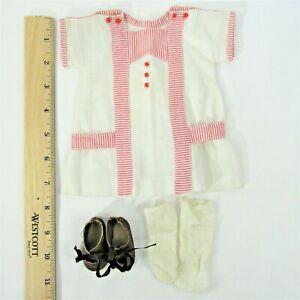 "vintage dress, shoes, & socks for 14""-15"" Schoenhut doll nice red trim"