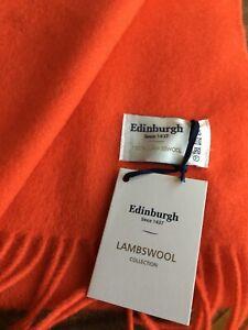 Edinburgh 100% Lambswool Scarf, New, Orange
