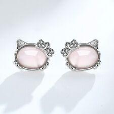 Kitty Cat Rose Quartz Pink Stud Earrings 925 Sterling Silver Womens Jewellery UK