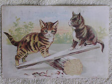 1895 Santo Domingo Lottery Trade Card/2 Kittens on Log & Board Seasaw/#2