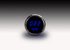 LED Digital WATER TEMPERATURE GAUGE W/ Sender BLUE LEDs! Chrome Bezel Dash Auto