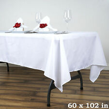 "WHITE 60x102"" RECTANGLE POLYESTER TABLECLOTH Wedding Party Catering Kitchen"