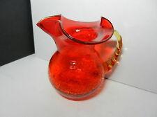 "Rainbow Crackle Glass Medium Pitcher Orange Applied Yellow Handle 6"" T ca 1970's"