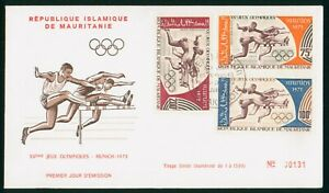Mayfairstamps Mauretania 1972 Olympics Combo First Day Cover wwp1087