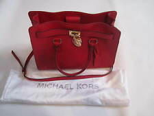 Michael Kors Chili Red Saffiano Leather EW Large Hamilton Satchel Tote Bag $358