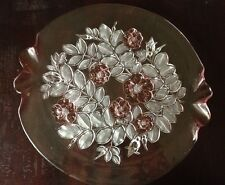 VINTAGE PINK FROSTED PLATTER / PARTY SERVER BY MIKASA© ROSELLA PATTERN