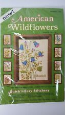 """Quick n Easy Stitchery Kit AMERICAN WILDFLOWERS Harebell Blue Flowers 5""""x7"""" NEW"""