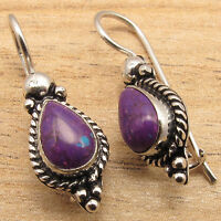 Jaipur Jewelry !! 925 Silver Plated PURPLE COPPER TURQUOISE GIRLS' Earrings