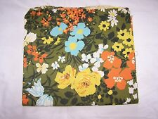 "Cotton fabric, floral print olive green, 54 x 45"" (1 1/4 yd) piece, vtg canvas"
