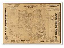 MAP of MARION COUNTY Florida - Palatka to Gainesville -  Vintage Reprint Poster