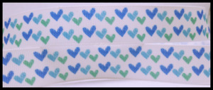 """10YD Green and Blue Hearts Grosgrain Ribbon 7/8"""""""