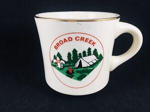 VTG 60's BSA Boy Scouts Of America Coffee Mug Cup Gold Gilt Broad Creek USA