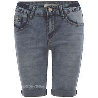 Womens Blue Denim Knee Length Turn Up  Peddle Pusher Shorts  Size 8 10 12 14 16