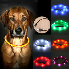 USB Rechargeable Waterproof Pet Collar LED Flashing Light Dog Safety Belt  New