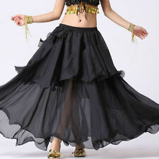 Golden - TMS Spiral Skirt Belly Dance 3 layer Full Circle Gypsy Club - 25 Color