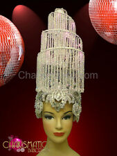 Beaded spiral lampshade burlesque Diva's headdress with white crystal fringe