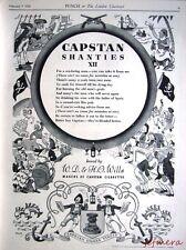 1938 Tobacco Advert Wills's Cigarettes 'Capstan Shanties XII' - Cartoon Print Ad
