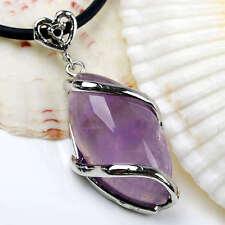 Fashion Natural Amethyst Gemstone Horse Eye Bead Charm Pendant Jewelry 8x17x23mm