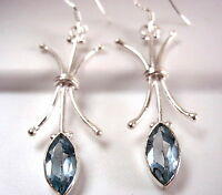 Faceted Blue Topaz Marquise Drop Earrings 925 Sterling Silver Dangle New