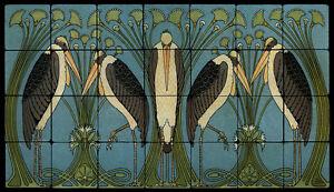 Art Nouveau Marabou Stone Marble Tile Mural Backsplash 28x16 William Morris