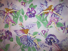 FAIRY FAIRIES FLOWERS WOMEN SWIRLS GLITTER PURPLE COTTON FABRIC FQ