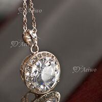9K ROSE GOLD FILLED MADE WITH SWAROVSKI CRYSTAL PENDANT NECKLACE 5CT