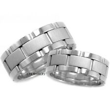 HIS & HERS 18K WHITE GOLD MATCHING WEDDING BANDS RINGS SET,ROLEX DESIGN 8MM RING