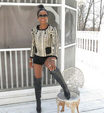 New Gryphon New York Women's Black Crop Matador Jacket Silver Studs Coins XS 0-2