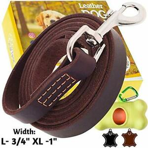ADITYNA - Heavy Duty Leather Dog Leash 6 Foot - Strong and Soft Leather Leash fo