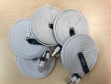 Wholesale Lot 5x Premium Flat Micro USB Cable 10FT  White (5 Cables)