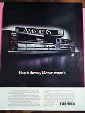 TOSHIBA VHS VCR / TDK VHS SUPER AVILYN TAPE  VTG 1986 PHOTO AD, RARE  EPHEMERA