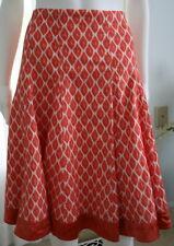 NANETTE LEPORE 10 Scarlet/White Skirt Gored Knee Length Cotton Mix Lined