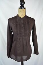 Gap - Dark BROWN long sleeve HENLEY cotton blouse ACCORDION pleats, size S