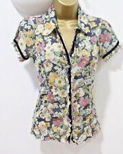 NEXT Women Shirt 10 Semi Sheer Blouse Top Button Fitted Stretch Summer Festival