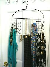 Black Wrought Iron Closet Organizer for Scarves, Jewelry, Belts &Ties .