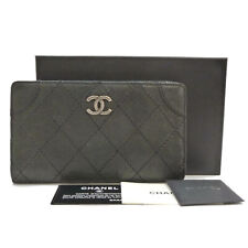 Authentic CHANEL CC Quilted Caviar Skin Bifold Dark Gray #S301051