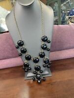 Vintage Gold Black Lucite Cabochon  beaded Necklace Rhinestone Sweater Style 23""