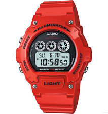 Casio Men's Red Resin Watch, Stopwatch, Countdown Timer, Alarm, W214HC-4AV