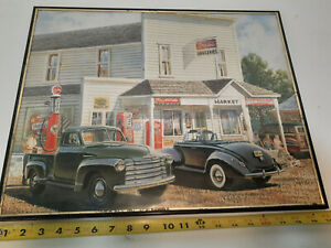 Framed Art of Old Time Store and Gas Pumps Man Cave Car Picture