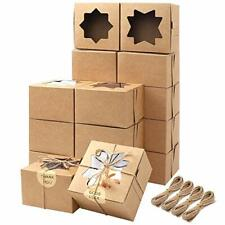 Moretoes 50pcs 4x4x25 Inches Brown Bakery Boxes With Window Cookie Boxes Kraft