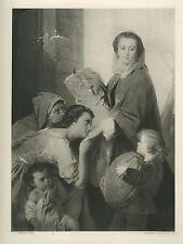 ANTIQUE LADY BOUNTIFUL CHARITY ALMS GIVING MISSIONARY BREAD KINDNESS HOPE PRINT