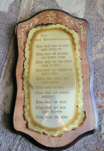 """Ten 10 Commandments Rustic Brass and Wood Wall Plaque 18"""" X  10"""""""