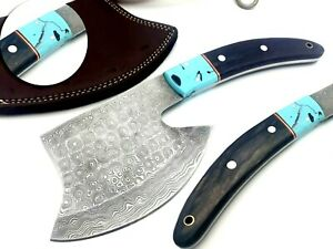 Handmade Damascus Steel Tomahawk Axe Wood Handle Full Tang with Leather Sheath