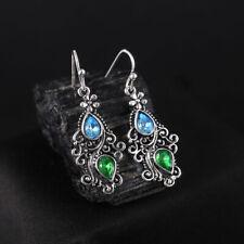 925 Silver Dangle Drop Earrings Ear Hook Rhinestones Women Fashion Jewelry Gift