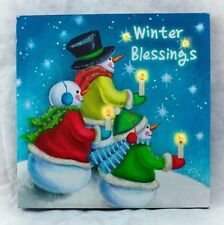Snowman Winter Blessing Picture on Canvas w Led Lights Wall Art Christmas Decor