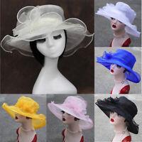 Women New Kentucky Derby Wide Brim Wedding Church Occasional Organza Sun Hat US