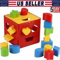 Wooden Toys Shape Sorter Puzzle Box Baby Toddler Buildings Educational Gifts USA