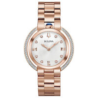 Bulova Women's Quartz Rubaiyat Sapphire Crystal Diamond Accent 35mm Watch 98R248