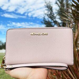 Michael Kors Jet Set Travel Large Phone Case Leather Wallet Wristlet Pink Blush